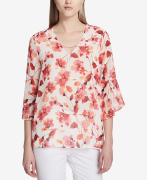 Calvin Klein Floral-print Bell-sleeve Top In Watermelon Multi