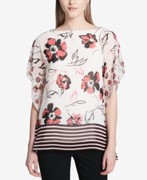 Calvin Klein Mixed-print Semi-sheer Top In White Mixed Floral