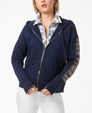 Tommy Hilfiger Sport French Terry Logo-sleeve Hoodie, Created For Macy's In Navy