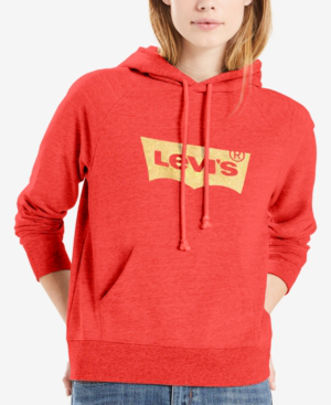 Levi's Fleece Logo-graphic Hoodie In Batwing Chinese Red