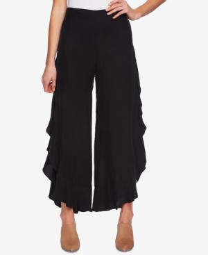 1.state Ruffled Wide-leg Pants In Rich Black