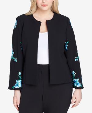 Tahari Asl Plus Size Embroidered Jacket In Black/blue