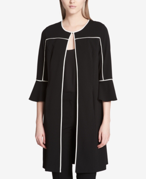 Calvin Klein Piped Bell-sleeve Topper Jacket In Black
