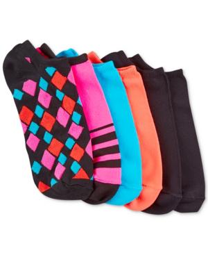 Hue Women's Microfiber Liner Socks 6 Pack In Black Geo