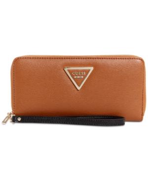 Guess Marisole Zip Around Boxed Wallet In Cognac Multi