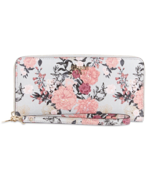 Guess Seraphina Large Zip-around Wallet In Grey Floral