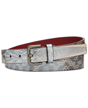Calvin Klein Pearlized Snake-embossed Leather Belt In Black With Pewter And Brushed Gold