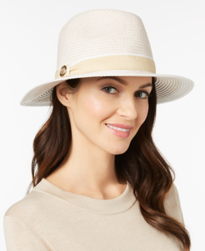 Vince Camuto Tweed Panama Hat In White