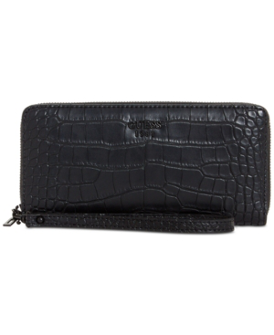 Guess Keaton Large Zip Around Wallet In Black