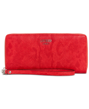 Guess Keaton Large Zip Around Wallet In Poppy