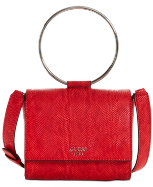 Guess Keaton Mini Flap Top Handle Shoulder Bag In Poppy
