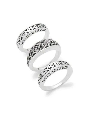 Lois Hill Trio Of Engraved Sterling Silver Rings