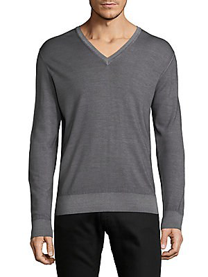 Tomas Maier Merino Wool V-neck Sweater In Heather Grey