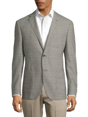 Corneliani Plaid Wool Jacket In Beige Multi