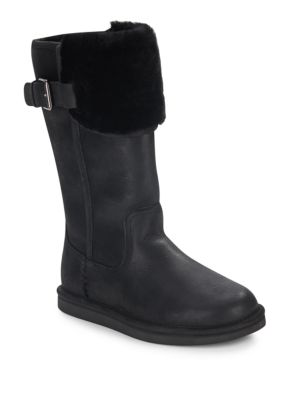 Ugg Wilowe Leather Sheepskin Cuff Boots In Black
