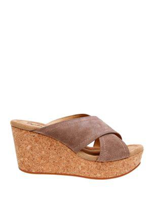 Splendid Joan Crisscross Platform Slide Sandals In Taupe