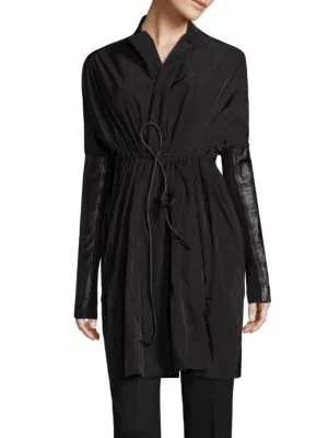 Rick Owens Woven Sail Coat In Black