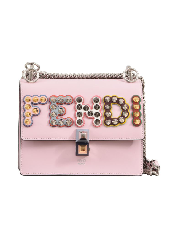 Fendi Women's Leather Shoulder Bag Kan I Small In Pink