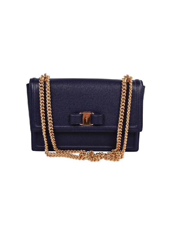 Salvatore Ferragamo Medium Vara Bow Shoulder Bag In Blue