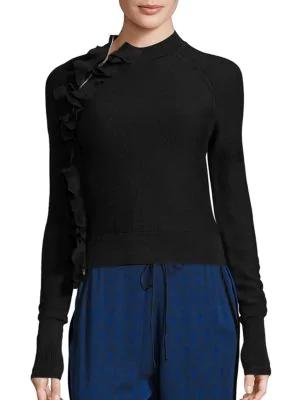 3.1 Phillip Lim Ruffle Mockneck Sweater In Black