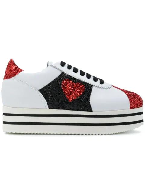 Chiara Ferragni Damenschuhe Turnschuhe Damen Leder Schuhe Sneakers In White