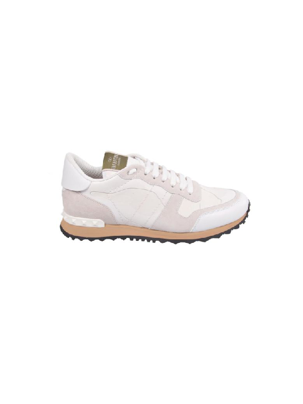 Valentino Rockrunner Camouflage Leather Sneakers In 0bo Bianco