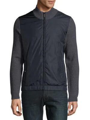 Hugo Boss Gabe Colorblock Full Zip Jacket In Navy