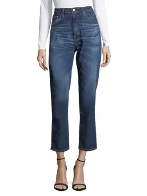 Ag Cropped High-rise Jeans In Blue