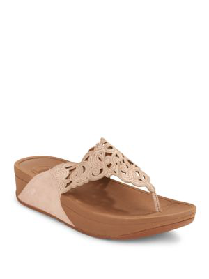 Fitflop Flora Leather Slip-on Sandals In Nude