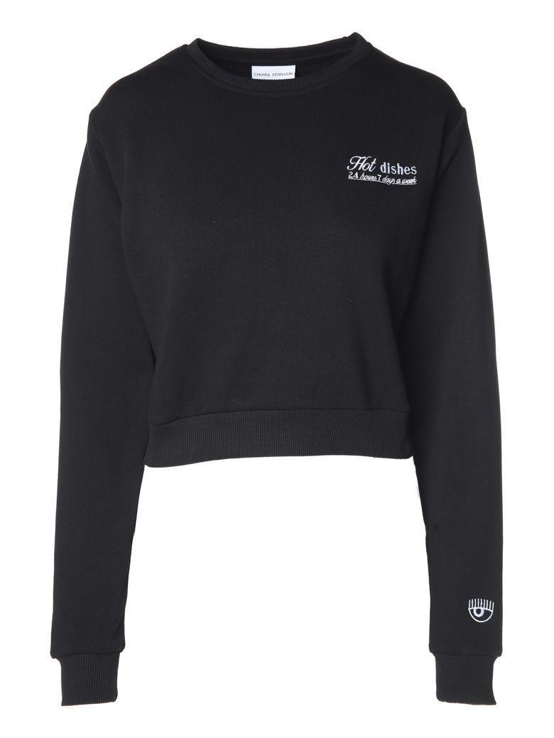 Chiara Ferragni Suite Service Cotton-jersey Sweatshirt In Nero