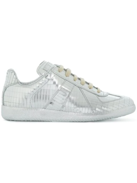 Maison Margiela Silver Replica Sneakers In Leather In Grey