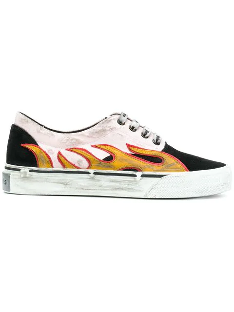 Palm Angels Flames Distressed Low-top Sneakers - Multicolour