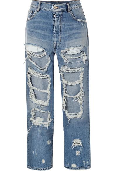 Ben Taverniti Unravel Project Distressed Oversized Jeans In Mid Denim