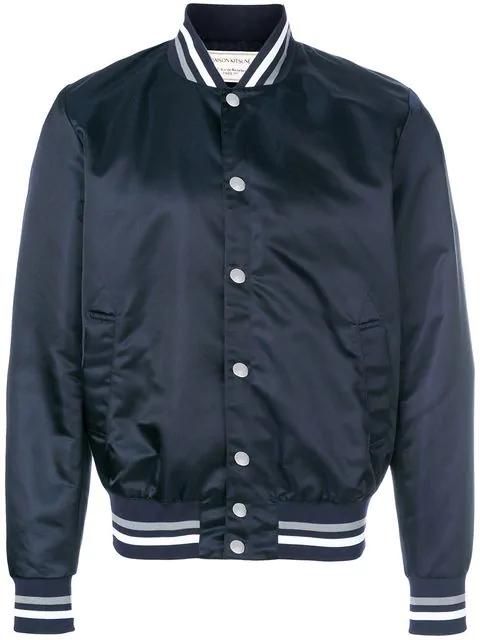 Maison KitsunÉ Slim-fit AppliquÉd Satin Bomber Jacket In Blue