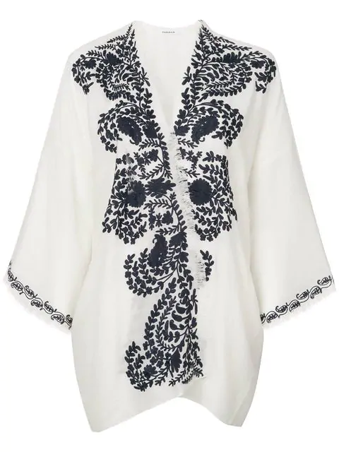 P.a.r.o.s.h. Contrast Embroidered Kimono Jacket In White