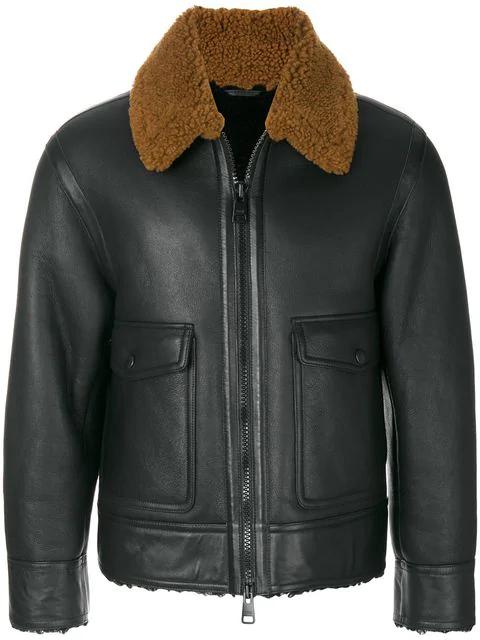 Ami Alexandre Mattiussi Zipped Shearling Jacket In Black