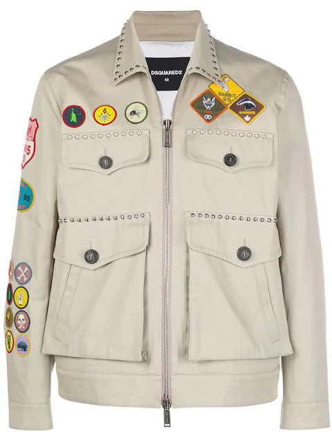 Dsquared2 Patch Studs Military Jacket - Nude & Neutrals