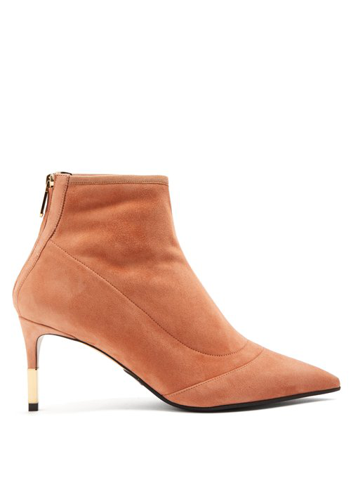 Balmain Point-toe Suede Ankle Boots In Nude