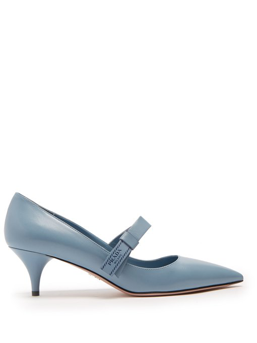 Prada Point-toe Leather Pumps In Light Blue