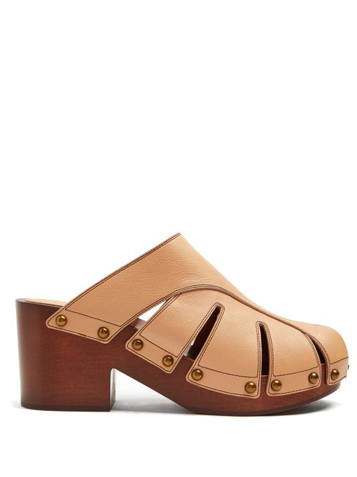 ChloÉ Quinty Leather Clogs In Beige