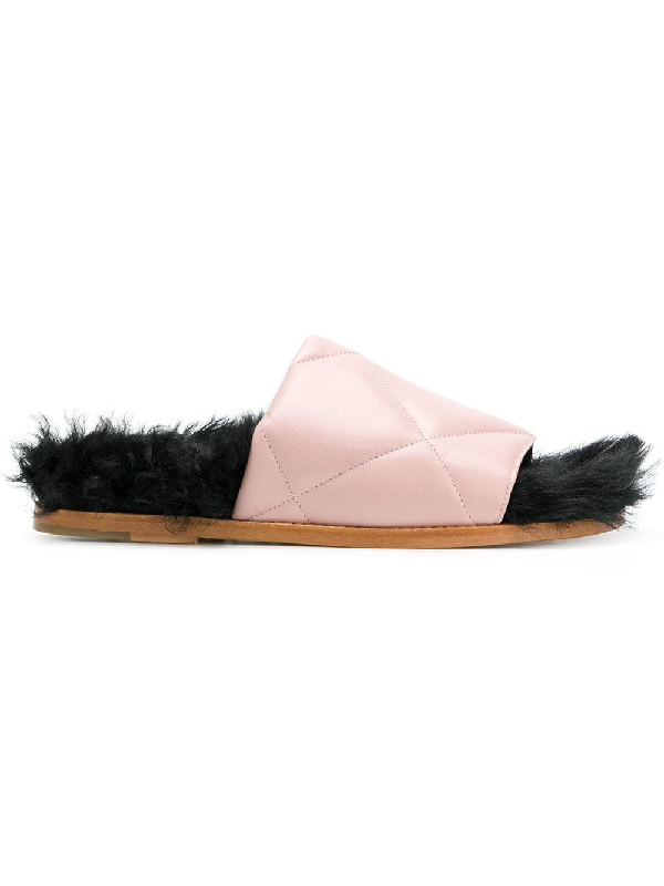 Marques' Almeida Quilted Leather Slides In Salmon-pink