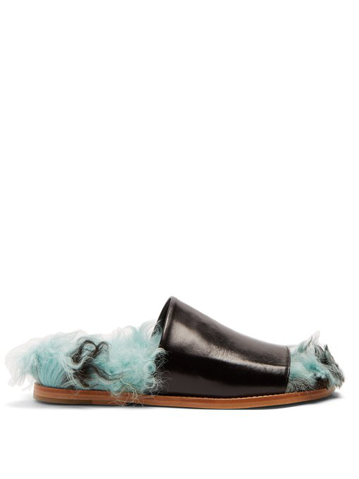 Marques' Almeida Shearling And Leather Slides In Black Green