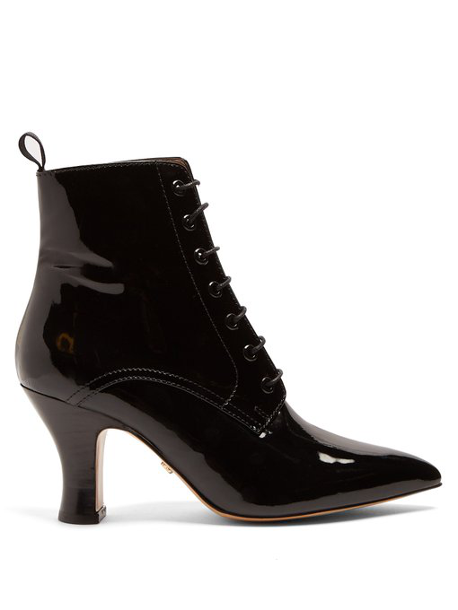 Alexa Chung Victoriana Patent-leather Lace-up Boots In Black