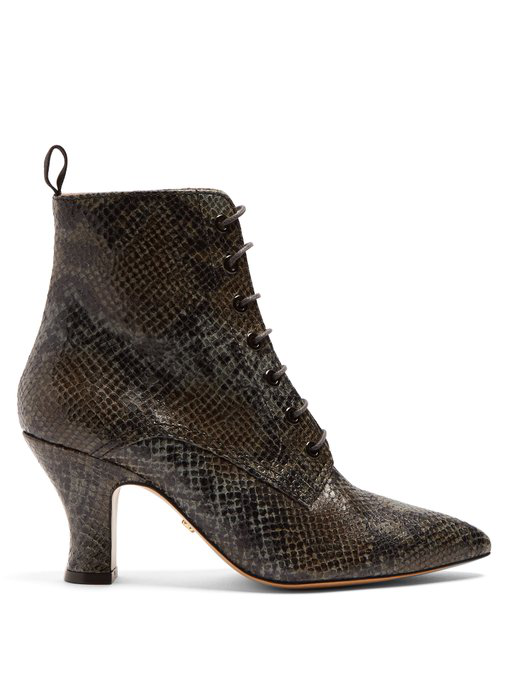 Alexa Chung Victorian Snakeskin-effect Leather Lace-up Boots In Tonal-grey