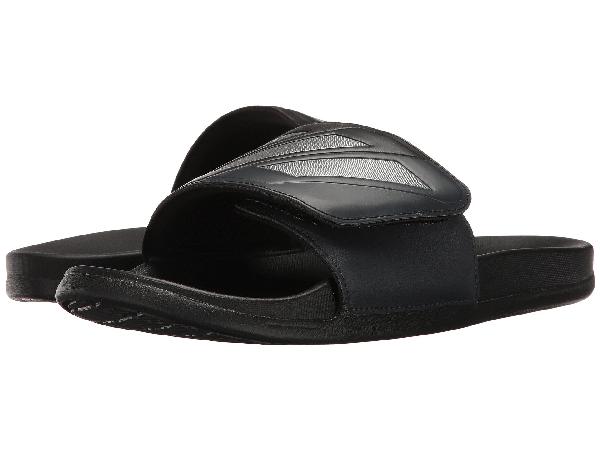 Adidas Originals Adilette Cf+ Adjustable In Core Black/night Metallic/dark Grey