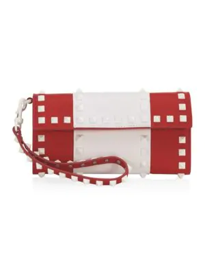 Valentino Free Rockstud Leather Continental Wallet In Red