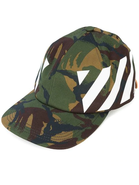 Off-white Camouflage-print Stretch-cotton Canvas Cap In Green