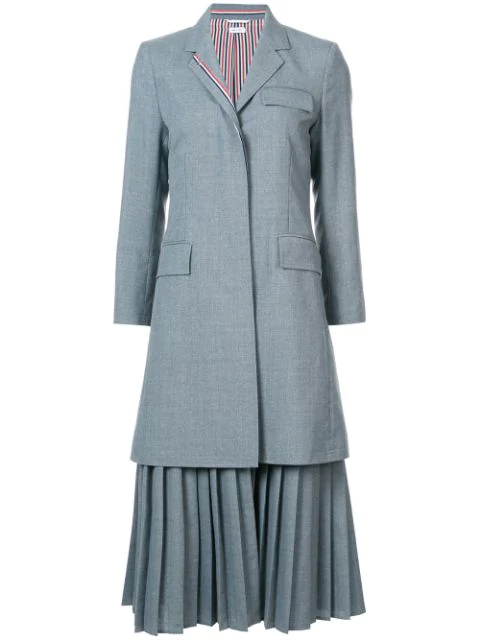 Thom Browne Pleated Bottom Chesterfield Overcoat In School Uniform Plain Weave In 035 Med Gre