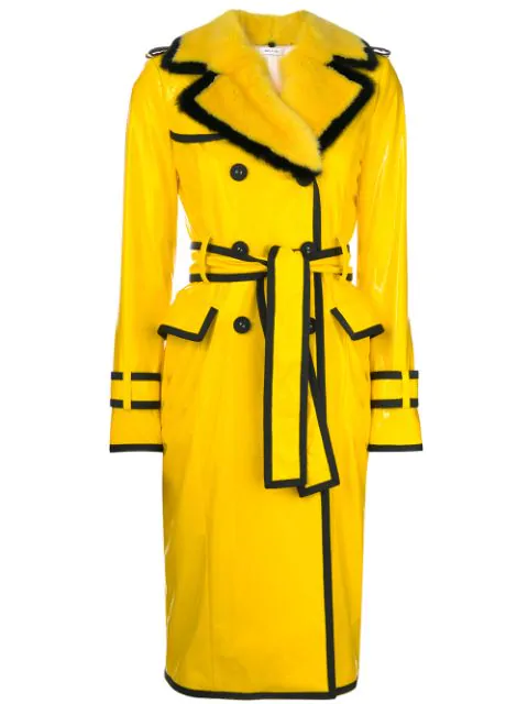 Thom Browne Classic Trench Coat With Grosgrain Tipping, Mink Fur Detachable Collar & Lapel In Nylon Slicker In Yellow