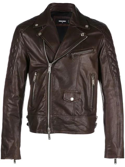 Dsquared2 Leather Biker Jacket - Brown